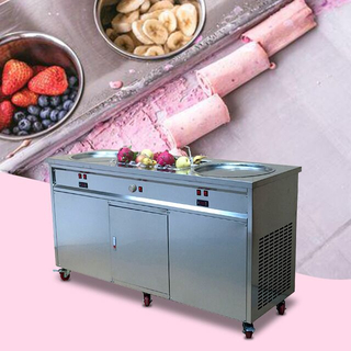 Hot Sale Double Pans Frozen Rolled Ice Cream Ice Cream Roll Fried Ice Cream Machine