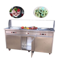 2020 CE Stainless Steel Waffle Bowls Double Pan Rolled Ice Cream Thai Fried Ice Cream Machine