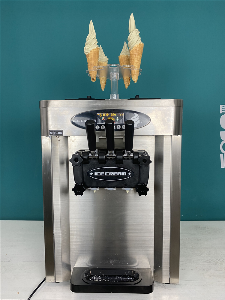 Portable table top soft serve ice cream machine three flavors automatic soft ice cream vending machine